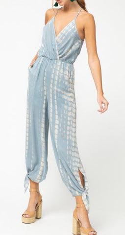 Strappy Tie Dye Jumpsuit - Baby Blue