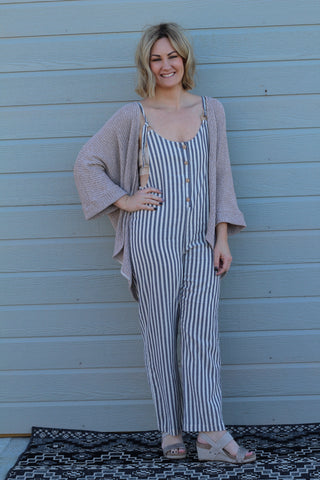 Striped Button Front Jumpsuit - blue/ivory
