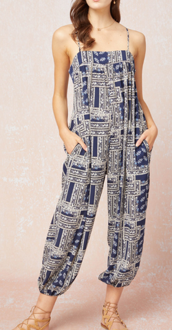 Printed Jumpsuit with Spaghetti Straps- Navy