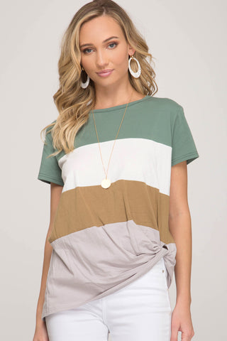 Color Block Twisted Hem Tee- Green