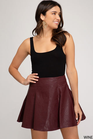 Faux Leather Skater Skirt - Wine