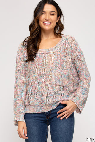 Multi Colored Sweater with Pocket- Pink
