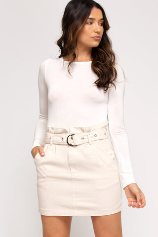 Twill Skirt with Belt- Off White