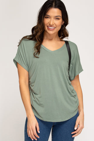 DROP SHOULDER ROUCHED V NECK KNIT TOP- Slate