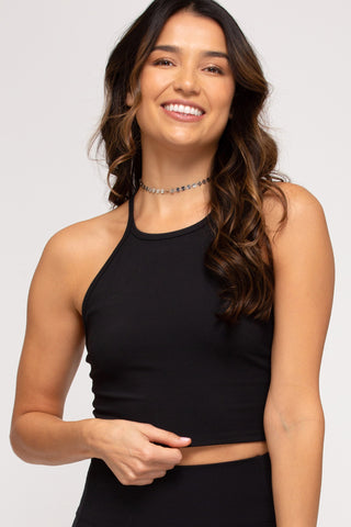 Cropped Racer Back Adjustable Strap Tank- Black