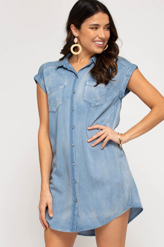 Button Down Chambray Dress with Pockets