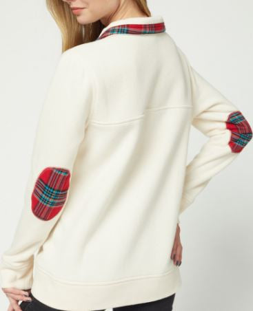Plaid Collared Pullover with Pocket and Elbow Detail- Ivory