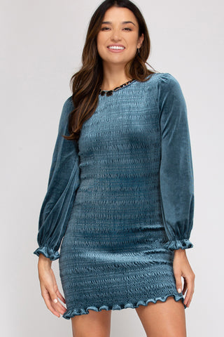 Crushed Velvet Ruched Dress- Teal