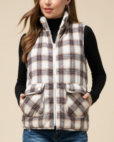 Reversible Sherpa Lined Plaid Flannel Vest - Cream