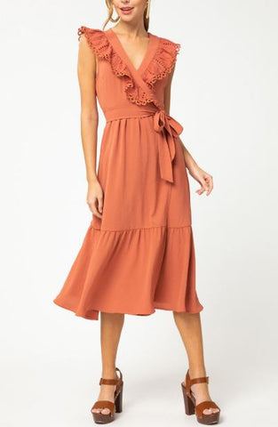 Eyelet Lace Wrap Dress - Terra Cotta
