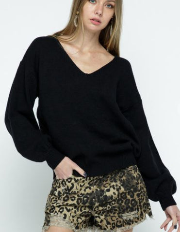 Open-Back Lace Detail Sweater- Black