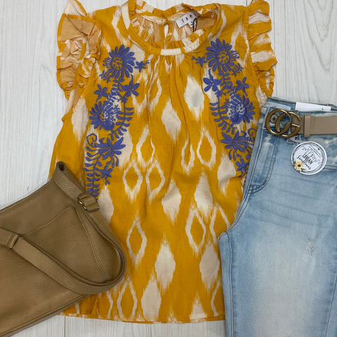 Embroidered Sleeveless Blouse - Mustard