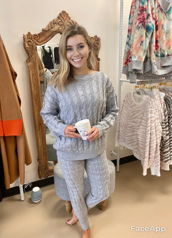Sweater Knit Pants - Gray
