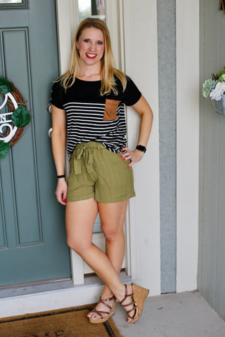 Elastic Waisted Shorts with Belt- Olive