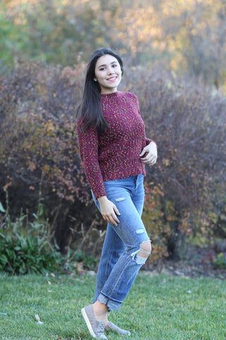 Confetti Distressed Fuzzy Sweater- Burgundy