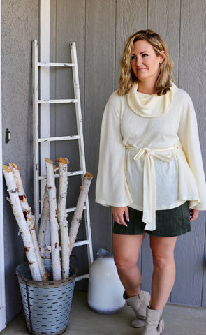 Cowl Neck Poncho with Belt - Ivory