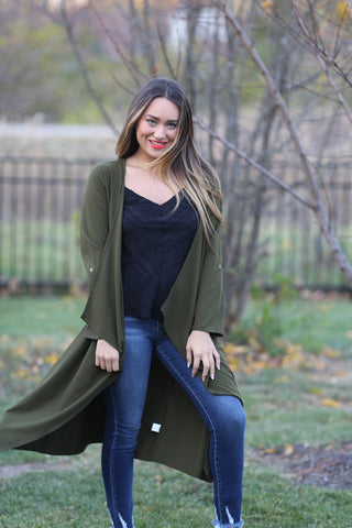 Draped Lapel Long Open Jacket- Army Green