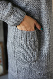 Oversized Cardigan with Pockets - Gray