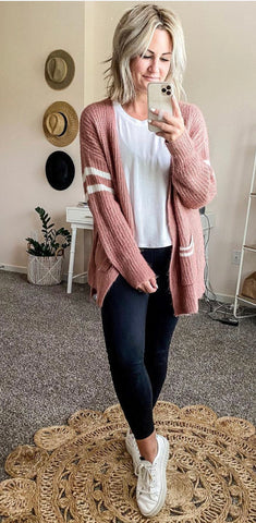 Letterman Cardigan with Side Slits- mauve