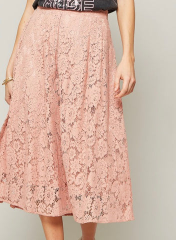 Lace Ankle Length Skirt - Rose