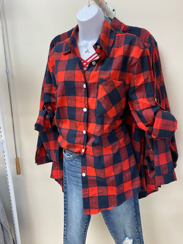 Checked Plaid Button Down Flannel - Red/Navy