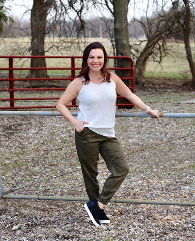 Jogger with Elastic Waistband- Olive