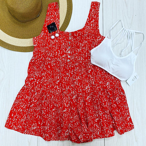 Printed Oversized Romper-RED