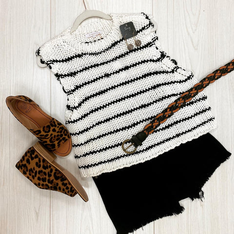 Striped Cap Sleeve Boxy Sweater- White/Black