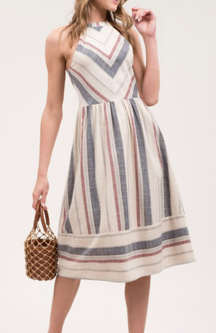 Halter Linen Striped Dress - Navy/Beige/Red
