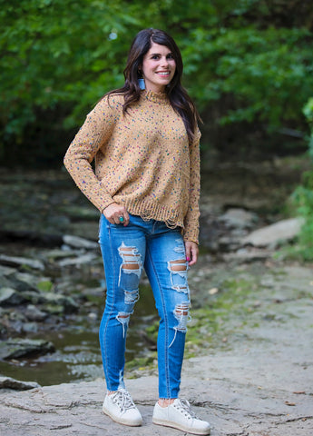 Confetti Distressed Edge Sweater- Mustard