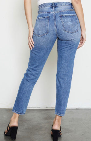 High Rise Mom Jeans- medium wash