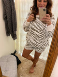 Zebra Sweater Lounge Shorts- Taupe