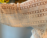 Crochet Lace Sleeve Terry Top-Cream