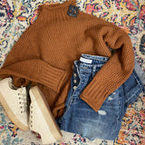 Thick Knit Mock Neck Sweater- Cinnamon