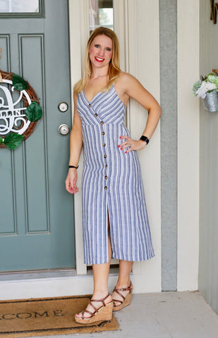 Button down Striped Midi Linen Dress