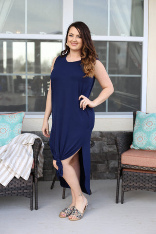 Sleeveless Solid Maxi Dress with Side Slits- Navy