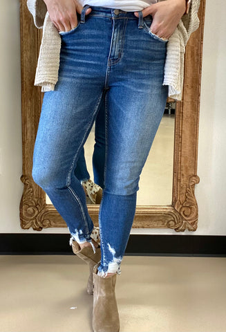 Vervet Skinny Jean with Distressed Ankles-Denim