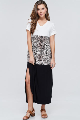 Short Sleeve Leopard Block Maxi Dress-Multi