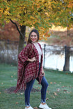 Plaid Shrug- Burgundy