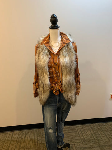 Ombre Faux Fur Vest - Tan/Cream/Black