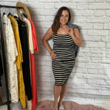 Striped bodycon dress- Black/White