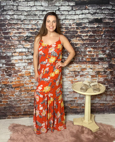 Floral Maxi Sundress - Rust