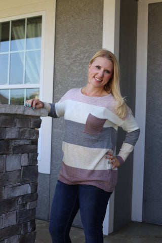 Thin Colorblock Sweater - Mauve
