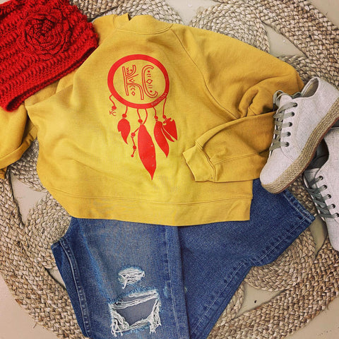 Cropped Dreamcatcher Sweatshirt- Mustard