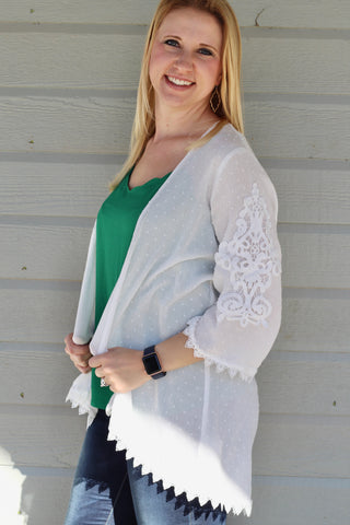 Thin Knit Cardigan with Crochet Bell Sleeves - White