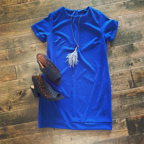 Banded Hem Shift Dress-Royal