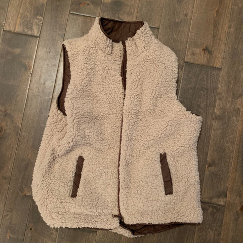 Sherpa Lined Reversible Puff Vest - Brown
