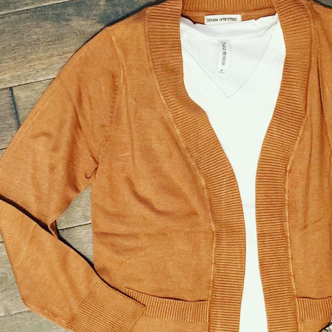 Open Cardi with Pockets- Caramel