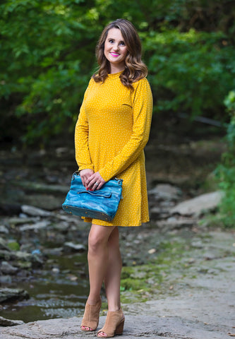 Polka Dot Print Mock Neck Dress- Mustard