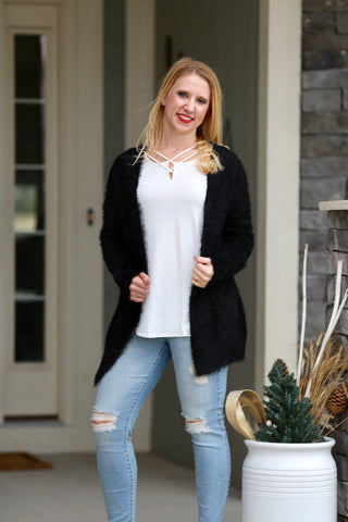 Fuzzy Cardigan with Criss Cross Back- Black